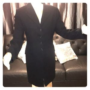 Ellen Tracy size 10 navy long suit jacket